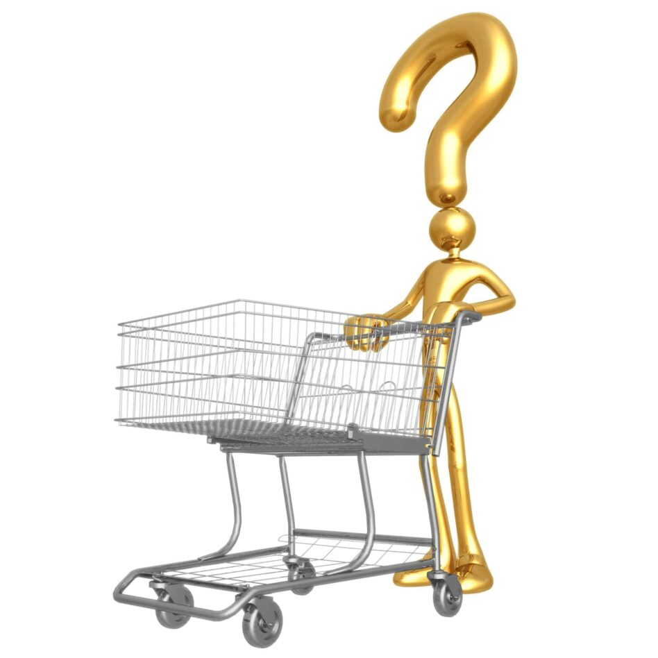 a gold color cartoon of a buyer pushing a shopping cart and a question mark above his head