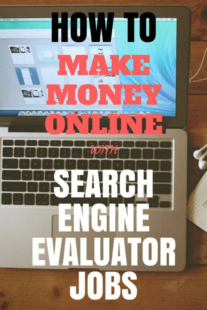 A computer on a wood desk and white headphones on the side; and a sign that says search engine evaluator jobs