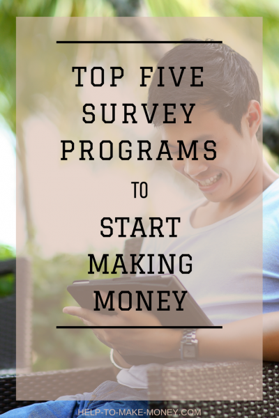 Find out how to satrt making money filling online surveys with these five survey programs.