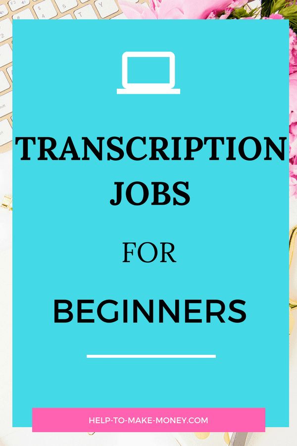"White keyboard with pink flowers on the side and an emerald square image overlayed with the text ""transcription jobs for beginners""."