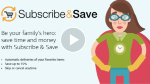 woman dressing like a super heroe annuncing Amazon Subscribe&safe is your heroe to save money