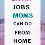 Laptop on a white desktop and a white layover on the top that says 11 data entry jobs moms can do ftom home