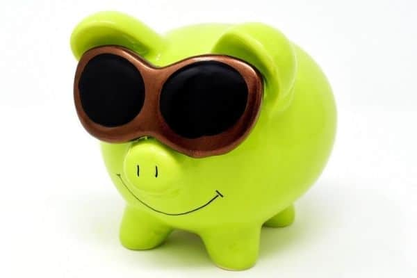 Yellow piggy bank smiling