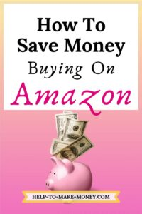 Pink Piggy bank with a few hundred dollar bills over it and a sign on the top saying how to save money buying on amazon.