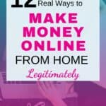woman lying in bed with a laptop on her legs typing with one hand while she's holding a bowl of cereal with the other hand. And over the picture a white layover with a sign on black and pink letters saying 12 real ways to make money online from home legitimately.