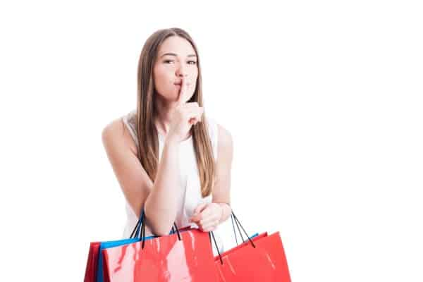 Mystery shopper telling you to keep her secret