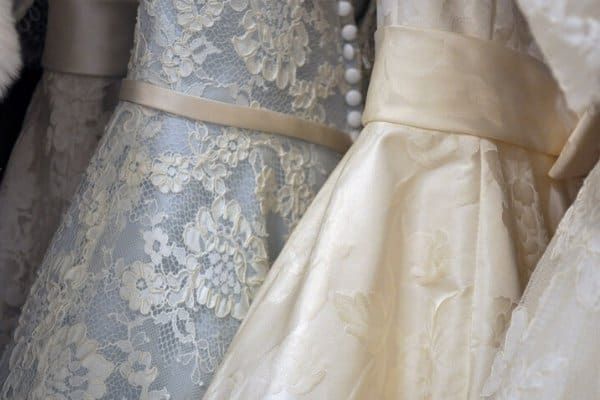 wedding dresses in a bride store