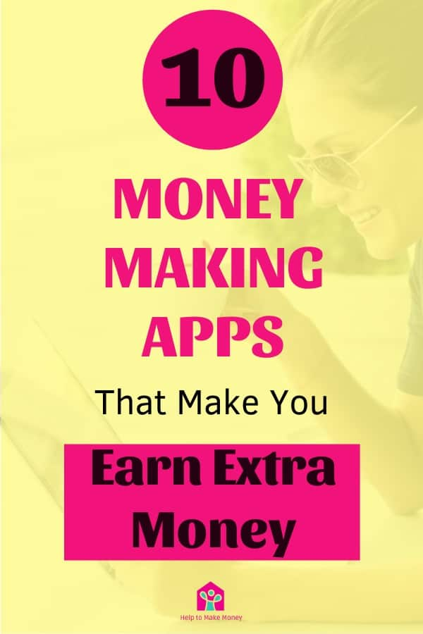 "black and pink letters that says ""10 best money making apps that make your earn extra money"" over a yellow overlay with a woman drinking coffee and smiling in front of a laptop as a background."