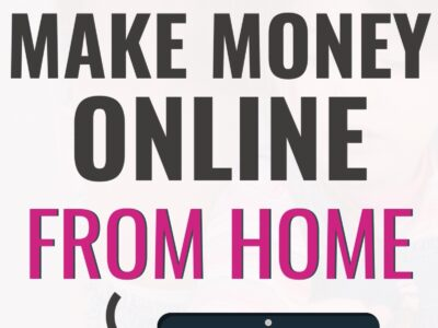 "Pinterest pin that says ""best mom job to make money online from home"" and a laptop on the bottom."